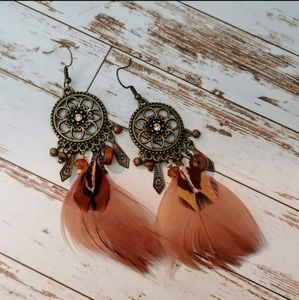 Boho Gypsy Dream Catcher Feather Earrings